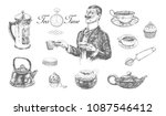 five o'clock tea time set with... | Shutterstock .eps vector #1087546412
