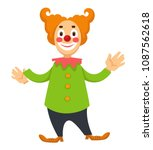cheerful clown in makeup and... | Shutterstock .eps vector #1087562618
