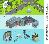 isometric outdoor surveillance... | Shutterstock .eps vector #1087566278