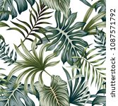 tropical vintage green leaves... | Shutterstock .eps vector #1087571792