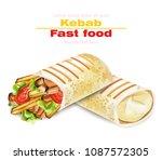 shawarma kebab fast food vector.... | Shutterstock .eps vector #1087572305