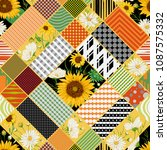 seamless patchwork pattern with ... | Shutterstock .eps vector #1087575332