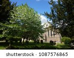 a beautiful old stone church... | Shutterstock . vector #1087576865