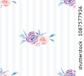 hand painted watercolor floral... | Shutterstock . vector #1087577936