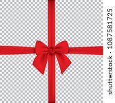 realistic red bow and ribbon... | Shutterstock .eps vector #1087581725