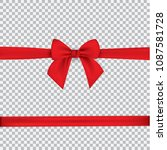 realistic red bow and ribbon... | Shutterstock .eps vector #1087581728