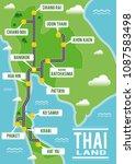 cartoon vector map of thailand. ... | Shutterstock .eps vector #1087583498