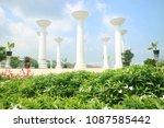 many great pillar in garden... | Shutterstock . vector #1087585442