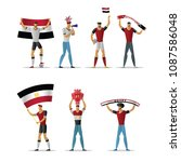 egypt football fans. cheerful... | Shutterstock .eps vector #1087586048