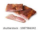 smoked bacon. traditional... | Shutterstock . vector #1087586342