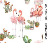 two flamingos with cactus on... | Shutterstock . vector #1087589735