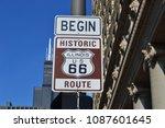 historic route 66 begin chicago | Shutterstock . vector #1087601645