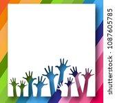 children's hands on bright... | Shutterstock .eps vector #1087605785