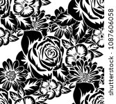 seamless monochrome pattern of... | Shutterstock .eps vector #1087606058
