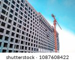 crane and building construction ... | Shutterstock . vector #1087608422