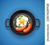 grilled egg and sausage at... | Shutterstock .eps vector #1087608908