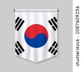 3d realistic pennant with flag... | Shutterstock .eps vector #1087609256