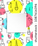 nail banner with doodle... | Shutterstock .eps vector #1087616396