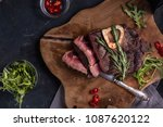oven roasted meat. perfect... | Shutterstock . vector #1087620122