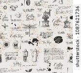 vector seamless pattern on tea... | Shutterstock .eps vector #1087621736