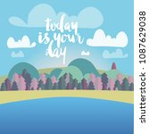 vector cute flat landscape with ... | Shutterstock .eps vector #1087629038