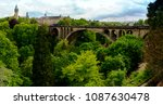 Wide panoramic view of Adolphe bridge in Luxembourg city
