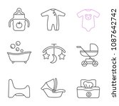 childcare linear icons set.... | Shutterstock .eps vector #1087642742