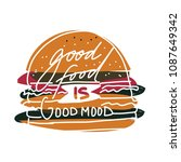 good food is good mood. hand... | Shutterstock .eps vector #1087649342