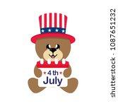 4 july cartoon cute bear in hat ... | Shutterstock .eps vector #1087651232