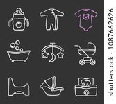 childcare chalk icons set.... | Shutterstock .eps vector #1087662626