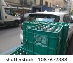 green box of glass bottled water | Shutterstock . vector #1087672388