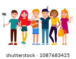 group of cute happy teenagers... | Shutterstock .eps vector #1087683425