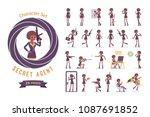 secret agent black woman  lady... | Shutterstock .eps vector #1087691852
