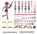 secret agent black woman  lady... | Shutterstock .eps vector #1087691855