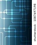 light blue indian curved... | Shutterstock . vector #1087697198