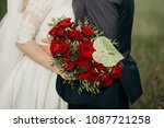 beautiful bouquet of red roses... | Shutterstock . vector #1087721258