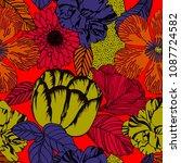 flower retro background  nature ... | Shutterstock .eps vector #1087724582