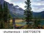 autumn hiking around emerald... | Shutterstock . vector #1087728278