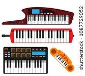 keyboard musical instruments...   Shutterstock .eps vector #1087729052