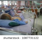 Small photo of Oxygen mask for the chronic obstructive pulmonary disease patient in a hospital, Thailand.