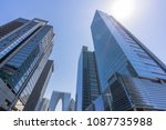 up view of modern office... | Shutterstock . vector #1087735988