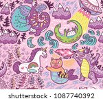 kids background with fantastic... | Shutterstock .eps vector #1087740392