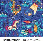 kids background with fantastic... | Shutterstock .eps vector #1087740398
