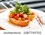 italian bruschetta with roasted ... | Shutterstock . vector #1087745702