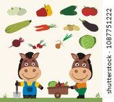 set of isolated vegetables ... | Shutterstock .eps vector #1087751222