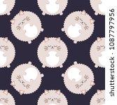 fluffy cat. seamless vector...   Shutterstock .eps vector #1087797956