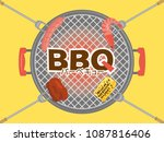 barbeque party vector poster. ... | Shutterstock .eps vector #1087816406