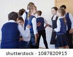 group of elementary school kids ... | Shutterstock . vector #1087820915