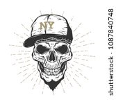 Skull With The Cap Isolated On...