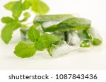 refreshing ice cubes with mint | Shutterstock . vector #1087843436